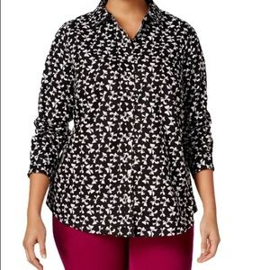 Charter Club Women's Printed Button Down Shirt -10
